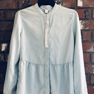 NWT Nordstrom Caslon Peplum  light blue denim top